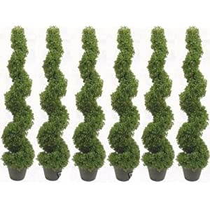 Silk Flower Arrangements Silk Tree Warehouse Six 4 Foot 2 Inch Artificial Boxwood Spiral Topiary Trees Potted Indoor Outdoor UV Rated. Free Returns!