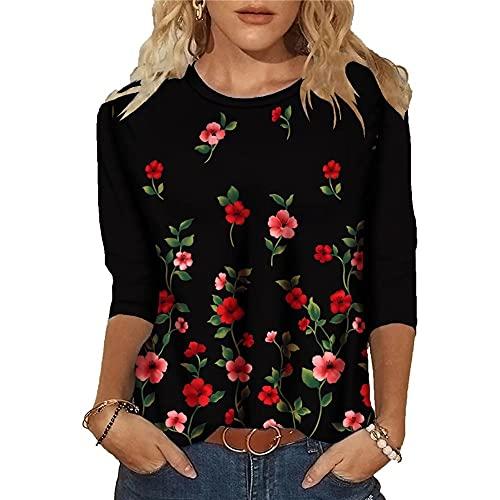 LYAZFC Camiseta de Manga Larga con Cuello Redondo y Estampado Multicolor de Moda de otoño para Mujer