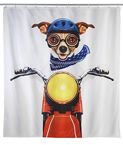 WENKO Duschvorhang Biker Dog - waschbar, mit 12 Duschvorhangringen, Polyester, 180 x 200 cm, Mehrfarbig