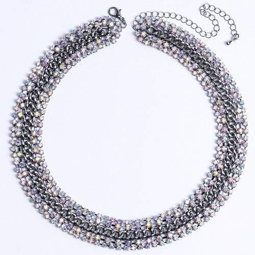 ghn Collares de cadena para mujer coloridos collares de moda diamantes de imitación, accesorios brillantes de lujo CORUIXI H94815 joyería y accesorios (color metal: chapado en negro pistola)