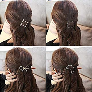 SGM 4 pieces Minimalist Hair Clips Hairpin Hair Clamps,Circle,Triangle, Moon and Infinity Pattern for Women Girls (Gold & ...