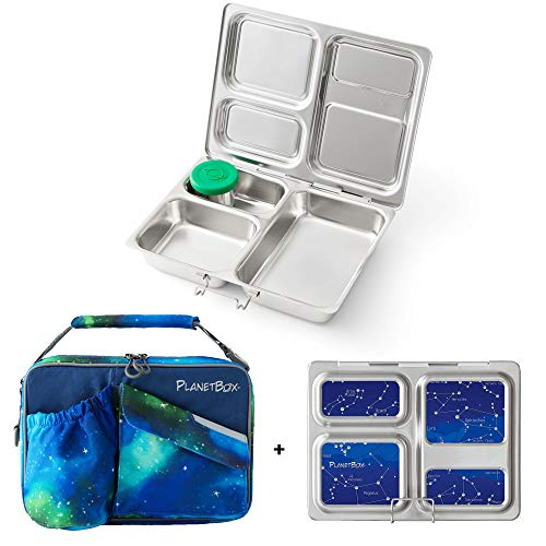 PlanetBox LAUNCH Eco-Friendly Stainless Steel Bento Lunch Box with 3 Compartments for Adults and Kids, Nebula Carry Bag with Star Map Magnets