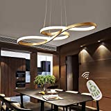 Modern LED Acrylic Chandelier Dining Room Dimmable 3000K~6500K Remote Control Pendant Lights Color/Brightness Adjustable Half Flush Mount Ceiling Hanging Lamp Fixture for Bedroom Livingroom Lighting