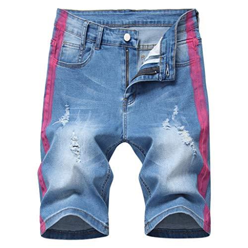 Aoogo Herren Jeans Shorts Jogger-Denim Kurze Hose mit Elastischem Bund und Destroyed-Optik aus Stretch-Material Regular Fit