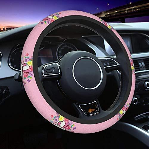 Hello Kitty con funda de volante floral Streering Universal Fit 15 pulgadas, protector de rueda de coche de elasticidad para hombres y mujeres