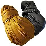 2Pack1Pack Stretch Head Wrap Scarf Turban - Long Black Hair Scarf Wrap Turban Head Scarf Tie SD (1sd black mustard gold)