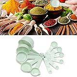 Juego de 11 cucharas y tazas de medición apilables de plástico ABS de grado alimenticio para utensilios de cocina para hornear, herramienta de medición para ingredientes líquidos y secos.