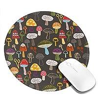 丸型マウスパッド ゲーミングマウスパッド マッシュルームパターン おしゃれ オフィス自宅兼用 滑り止めゴム底 耐洗い表面 厚地 精密度アップ 光学式マウス対応 20*20cm 厚さ3mm
