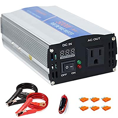 aeliussine Power Inverter 500W Pure Sine Wave 12v dc to ac 120v Surge 1000 Watt Converter with LED Display for Car RV Boat Solar Power System.
