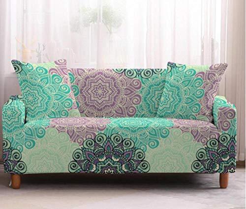 Fundas de Sofá Elasticas 4 Plazas Bohemio Rosa Azul Protector de sofá Funda Sofá Estampado Antideslizante Funda Elástico Universal Ajustables Protector Cubierta de Muebles