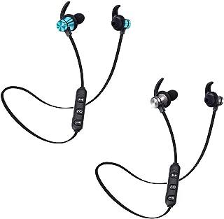 Lorjoyx Auriculares inalámbricos Bluetooth estéreo 5.0 Auriculares Deporte 5.0 Headset Manos Libres Auriculares Negro +Azu...