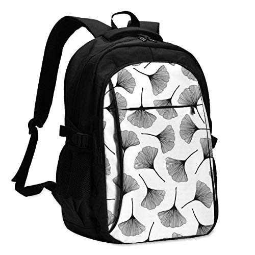 IUBBKI Bolsa para computadora mochila USB Monochrome Texture with Ginkgo Leaves Office & School Supplies with USB Data Cable and Music Jack Laptop Bags Computer Notebook 18.1X13.3 inch
