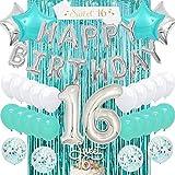 Kreatwow Dulces 16 Decoraciones de cumpleaños Teal Girls Dieciséis Suministros de cumpleaños Turquesa con 16th Cake Topper Blue Confetti Balloons Sash Teal Cortina