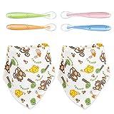 Gobesty Cucharas para bebés, 4 cucharas de silicona para bebés, cucharas para bebés de silicona y 2 tiras de baberos para babear, cucharas para bebés hechas de silicona para bebés y niños pequeños