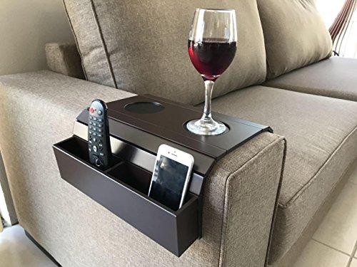 Meistar Global Armtablett für Sofa Halterung für Fernbedienung und Mobiltelefon, Armlehne, Organizer, Armlehne, Tisch mit Taschen (Brown)