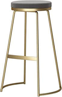 Modern Bar Stool Breakfast Kitchen High Stool Round Seat Counter Stool Footrest Design (Material: Wrought Iron + Velvet, 65 / 75CM) (Color : Gray Cushion, Size : Gold leg-75cm)