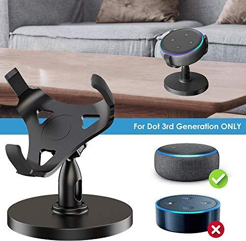 oGoDeal Desk Stand Table Holder for Echo Dot 3rd Generation Desktop Holder Dot Accessories Mount, 360° Rotation Adjustable,Improves Sound Visibility and Appearance(Black)