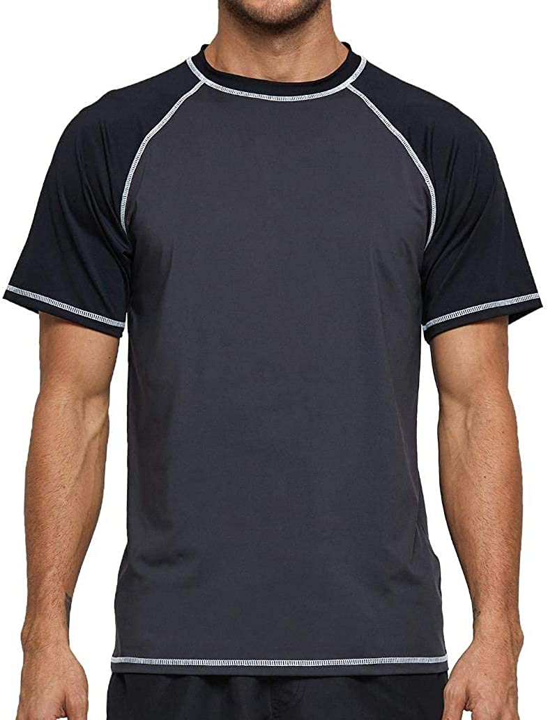Arcweg Rashguard Men Swim Short Sleeves Diving Rash Vest Fit Top T-Shirt Rashie