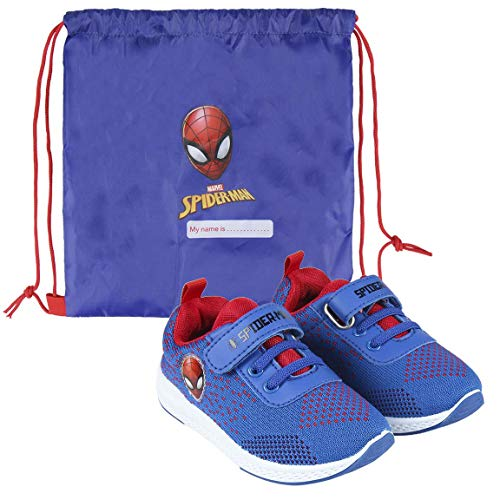 CERDÁ LIFES LITTLE MOMENTS Cerdá-Zapatillas de Spiderman para Niños de Color Azul, Gris Perla, 27 EU