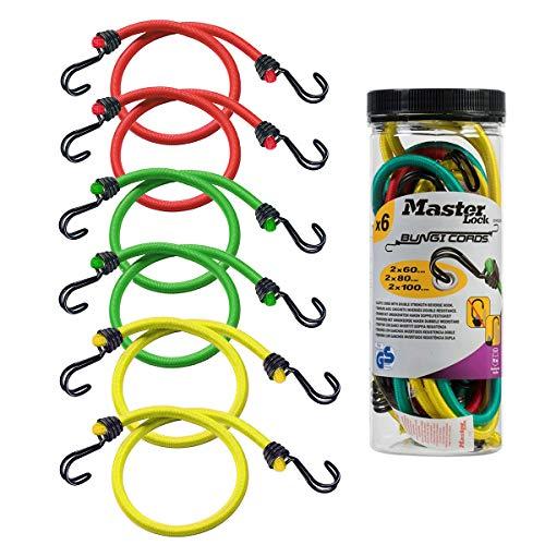 Master Lock 3040EURDAT Gummi-Spannseile mit Haken [Set mit 6 Spannseilen] [2 x 60 cm + 2 x 80 cm + 2 x 100 cm] [Doppelter Invershaken] - Ideal zum Transportieren, Verpacken und Sichern von Lasten