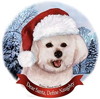 Pet Gifts USA Dog in Santa Hat Porcelain Hanging Howliday Ornament (Bichon)