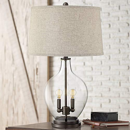 Becker Cottage Style Table Lamp with Nightlight LED Fillable Clear Glass Bronze Metal Fabric Drum Shade for Living Room Bedroom House Bedside Nightstand Home Office Family - Regency Hill