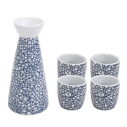 Mnjin Ensemble de saké Exquis, boîte de Jeu de Tasses à saké Blue Ice Crack de 5 pièces, Tasses en céramique de Texture pittoresque, pour Froid/Chaud/Shochu/thé Cadeau pour la famil