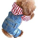SILD Cool Vintage Lavado Vaquero Chaqueta Jumpsuit Azul Vaquero Ropa para Mascota pequeña Perro Gato / 3 Estilos XS-XXL