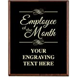 Crown Awards Corporate Employee Recognition Plaques - 5 x 7 Employee of The Month Gold Etched Recognition Trophy Plaque Award Prime