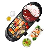 Upgraded Electric Indoor Grill, 6.56ft Cable 2000W Shabu Shabu 2L Hot Pot With Electric Indoor And...