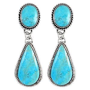Southwestern Turquoise Earrings Sterling Silver