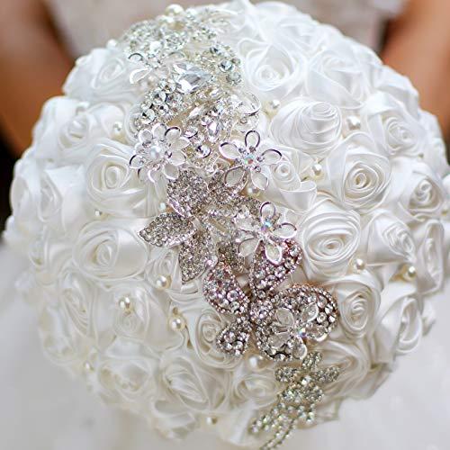 Bride Holding Flowers, Romantic Wedding Colorful Rose Bride 's Bouquet,Purple Pink Bridal Bouquets (White)