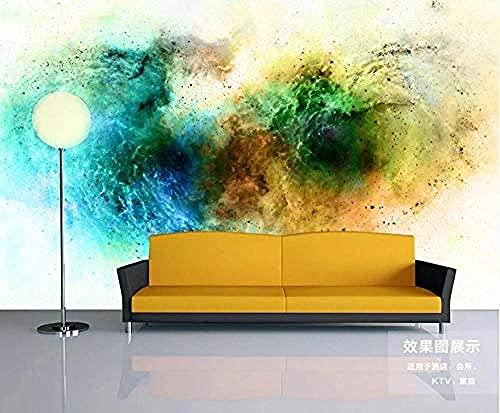 Papel pintado de estilo industrial azul cian amarillo degradado humo Pared Pintado Papel tapiz 3D Decoración dormitorio Fotomural de estar sala sofá mural-430cm×300cm