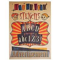 ステンシルシート アルファベット大文字&数字セット Advertisement (3cm)