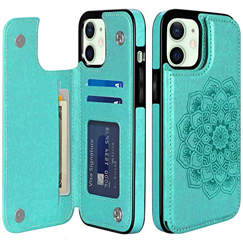 COOYA Compatible with iPhone 12 Case/iPhone 12 Pro Case Wallet with Card Holder PU Leather Case for Women Protective Back Magnetic Closure Flip Phone Case Compatible with iPhone 12/12 Pro 6.1 Inch