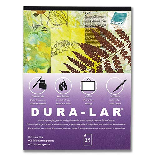 """Grafix P05DC0912 9 x 12"""", Pad of 25 – Ultra-Clear .005"""" Film, Acetate Alternative, Glossy Surface for Coverings, Stencils, Color Separation, Window Applications, Transparencies"""