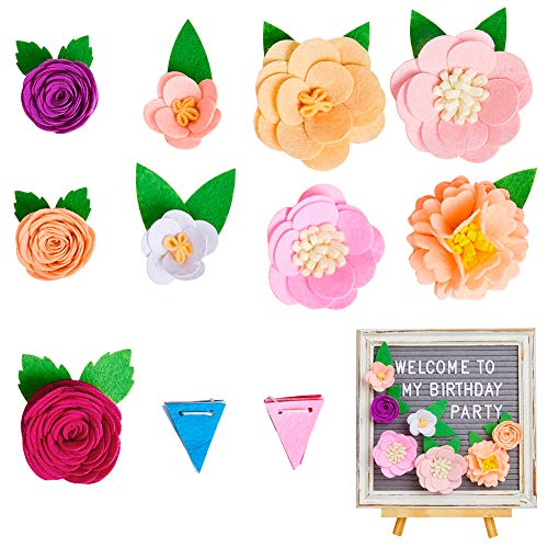 Beinou Felt Flowers for Letter Boards 9 Pack Message Board Decor Flowers with Flags Set DIY Accessories for Party Wedding Home