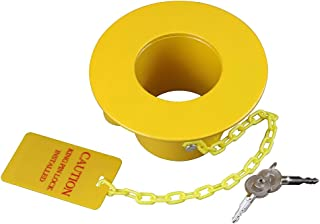 OKLEAD Heavy Duty Steel Kingpin Lock 5th Wheel Trailer King Pin Lock with Bright Yellow Caution Tag 2 Keys (Pin Φ 13mm)