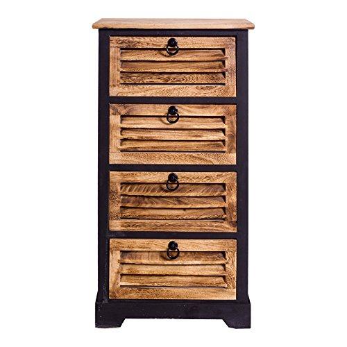 Rebecca Mobili RE4550 ladenkast industrieel design, commode met 4 laden, paulownienhout, bruin zwart, slaapkamer badkamer, hout, 81 x 40 x 27 cm
