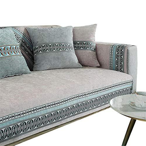 Funda de sofá Bordada para Mascotas,Perros,niños,Alfombrilla de Chenilla,Fundas de sofá Reversibles,Protector de sofá en Forma de l,Funda de sofá de Esquina,Rosa,90 x 90 cm