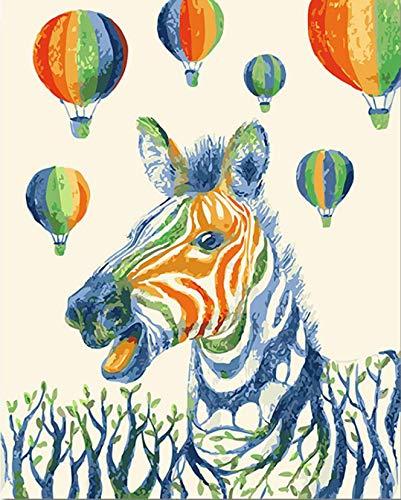 Pintura Colorida De Cebra Por Números Diy Animal Digital Wall Canvas Art Picture Globo Aerostático Para Colorear Por Números Obra De Arte Regalo 40X50Cm Navidad