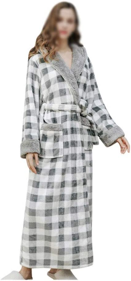 CUJUX Autumn Winter Men Long Bathrobe Plaid Printed Home Clothes Long Sleeved Hooded Robe Coat Sleepwear Bathrobe Nightgown (Color : B, Size : Large)