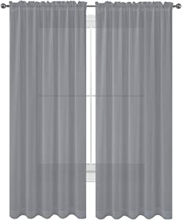 WPM WORLD PRODUCTS MART Drape/Panels/Scarves/Treatment Beautiful Sheer Voile Window Elegance Curtains Scarf for Bedroom & Kitchen Fully Stitched and Hemmed, Set of 2 Gray (Grey, 84