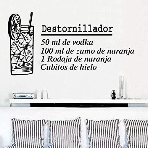 Destornillador muursticker voor keuken, slaapkamer, Spanje, dranken, vinyl, bar, thuisdecoratie, 85 x 43 cm