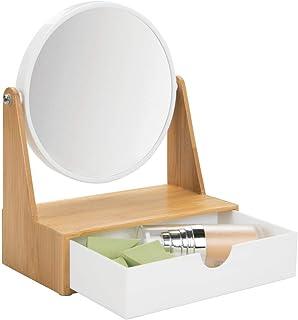 mDesign Espejo redondo giratorio – Tocador con espejo y repisa para baño de plástico y bambú – Espejo de mesa para maquillaje con aumento triple y con cajón para el lavabo – color bambú y blanco