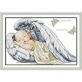 LY88 Amor Eterno Navidad Angelito Nacimiento Algodón ecológico Kits de Punto de Cruz Chinos 14 CT Contado Estampado