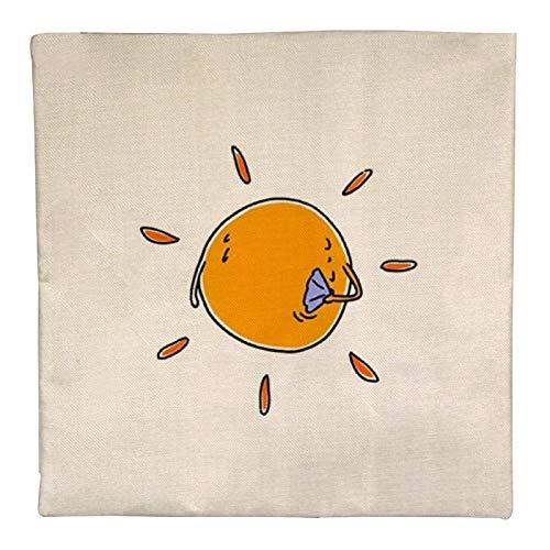 DKE&YMQ Funda de almohada de lino individual, diseño de círculos de melocotón, color naranja y ámbar