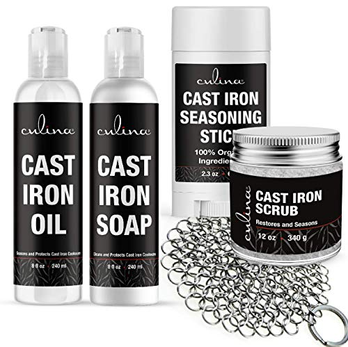 Culina Cast Iron Seasoning Stick & Soap & Oil Conditioner & Restoring Scrub & Stainless Scrubber | All Natural Ingredients | Best for Cleaning, Non-stick Cooking & Restoring | Cast Iron Cookware