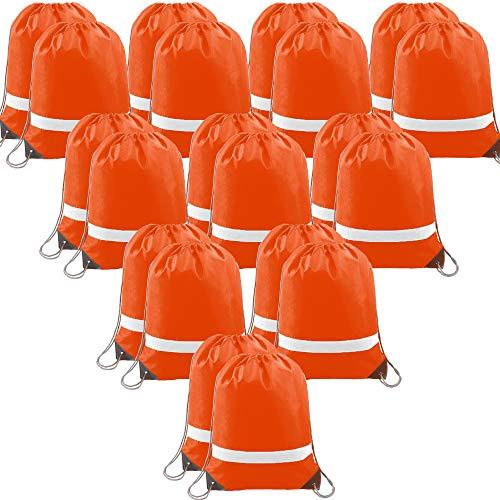 20 PCS-Orange-Drawstring-Backpack-Bags Reflective Bulk Pack, Promotional Sport Gym Sack Cinch Bags