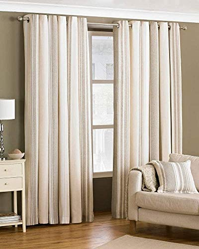 Riva Paoletti Broadway Ringtop Eyelet Curtains (Pair) - Coffee, Beige And Cream - Modern Striped Design - Ready Made - Room Darkening Design - Polycotton - 168Cm Width X 229Cm Drop (66' X 90' Inches)